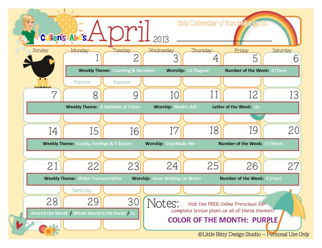 April Calendar Questions : Preschool calendars christian children activities