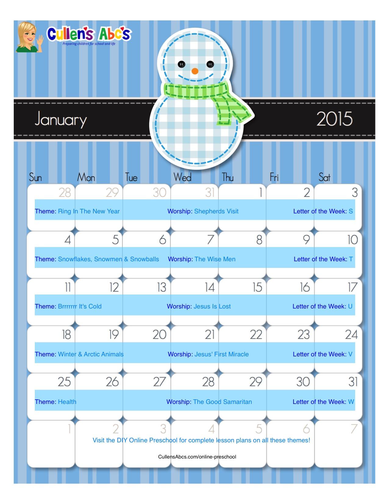 January Calendar Preschool : January calendar christian children activities