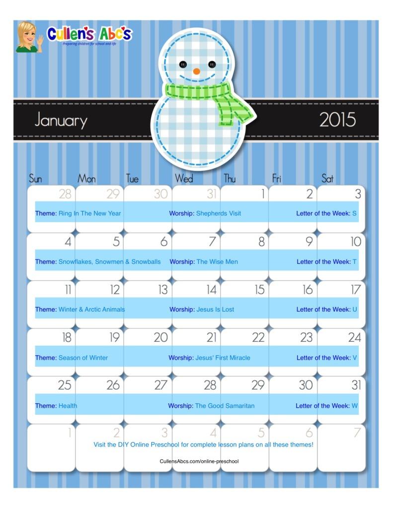 January Calendar Preschool : Preschool calendars christian children activities